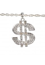 collier dollar blig bling argenté
