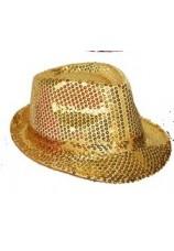 chapeau à paillettes disco doré