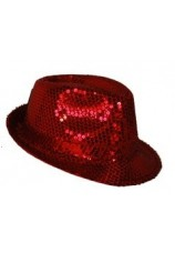 chapeau à paillettes disco rouge
