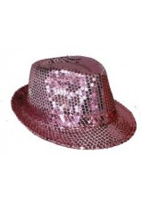 chapeau à paillettes disco rose