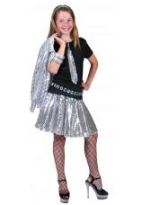 Juppe disco argentée 6 à 14 ans