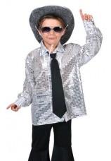 chemise disco argentee taille 6 à 16 ans