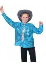 chemise disco bleue taille 6 à 14 ans