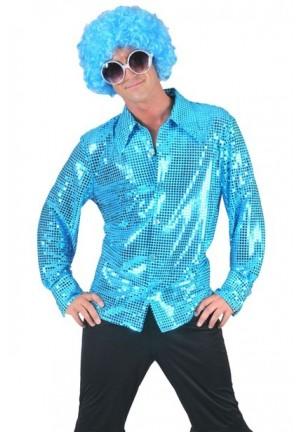 Chemise disco à paillettes bleue