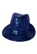 chapeau à paillettes disco bleu