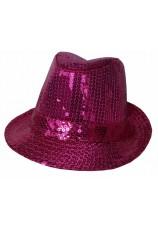 chapeau à paillettes disco fushia