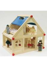 Maison de poupée meublée + 4 poupées