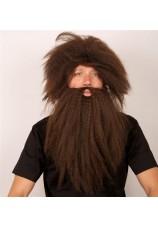perruque + barbe brun homme des bois