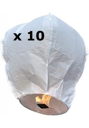 lot de 10 lanternes célestes blanches