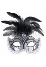 Masque noir et argent avec plumes