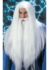 Perruque et barbe de magicien