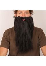 Longue barbe noire et bouclée