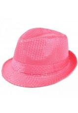 chapeau à paillettes fluo
