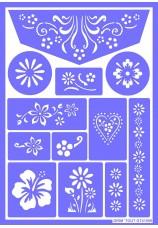 Pochoir de maquillage réutilisable-fleurs