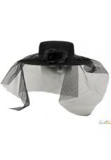 Chapeau noir à voilette pour femme