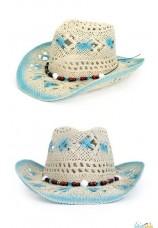 Capeau cowboy-indien en paille avec perles