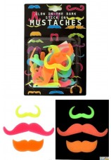 Moustaches fluo assorties