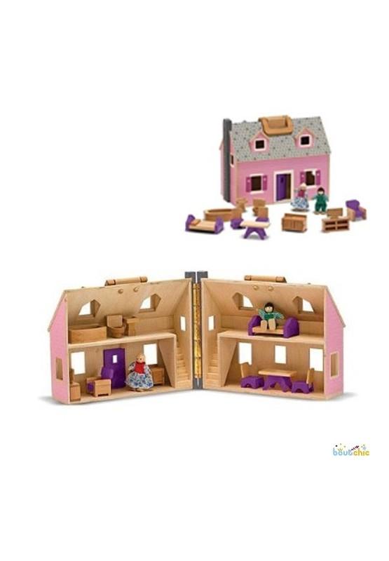 maison de poup e en bois valisette boutchic. Black Bedroom Furniture Sets. Home Design Ideas