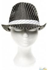 Chapeau gangster rayé noir et blanc