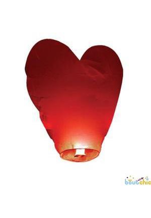 Lot de 10 lanterne céleste coeur rouge