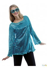 Tunique disco sequins bleu