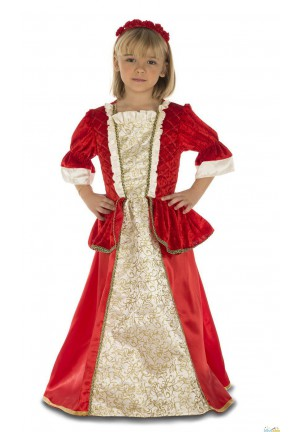 Princesse rouge et or médiévale fille