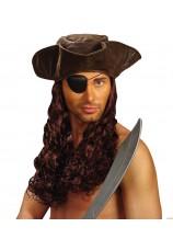 Tricorne de pirate avec cheveux
