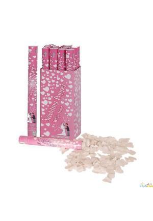 Canon confettis coeurs blancs 40cm