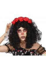 Diadème roses et tête de mort + voile