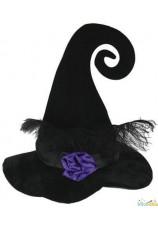 Chapeau de sorcière velours avec plumes