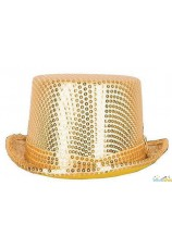 Chapeau buse doré à paillettes
