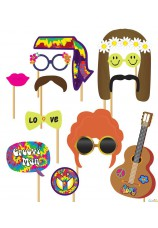 Photo Booth Props 12 pièces sur baton hippie power flower