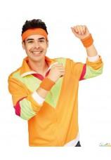 Bandeau et poignets éponge fluo orange