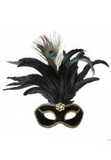 masque noir velours + plumes de paon