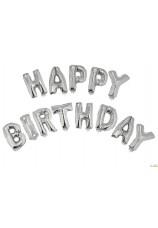Ballons happy birthday argent